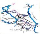 1897 10 08-13 Arménie carte circuit mont Ararat (5137m) à la frontière Perse (Iran) Arménie Turquie